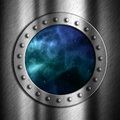 Brushed metal background with space porthole looking out to Stock Image