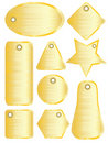 Brushed metal tags gold Stock Photos