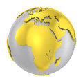 Brushed steel d globe gold earth crust isolated silver with outstanding glossy golden land other countries and transparent png Stock Photo