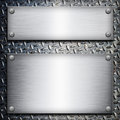 Brushed steel plate over black metall background for your design Royalty Free Stock Image