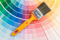 Brushes and color guide Stock Photography