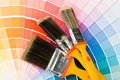 Brushes and color guide Stock Photos