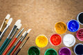 Brushes and gouache Royalty Free Stock Photo