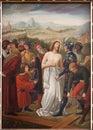 Brussel jesus stripped van zijn kledingstukken verf van st niklas en de kerk van jean s van cent Royalty-vrije Stock Afbeelding