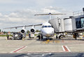 Brussels airport plane in preparation may at gate zaventem on may Stock Images