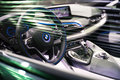 BRUSSELS, BELGIUM - MARCH 25, 2015: Interior view of BMW i8, the newest generation plug-in hybrid sports car developed by BMW. Royalty Free Stock Photo