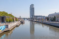 Brussels charleroi canal belgium aug the view from sainctelette bridge august in Royalty Free Stock Images