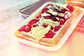 Brussels delight gaufre or wafer with cream and fruits Stock Photography