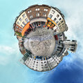 Brussels lift of marolles little planet view Stock Photo