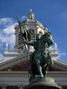Brussels medieval crusader statue. Royalty Free Stock Photo