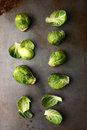 Brussels sprouts arranged on a metal cooking sheet vertical format Royalty Free Stock Images