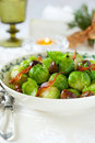 Brussels sprouts with bacon and chestnuts Royalty Free Stock Image