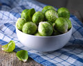 Brussels sprouts cabbage in a bowl Royalty Free Stock Photos