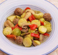 Brussels sprouts with meatballs Stock Images