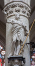 Brussels statue of st thomas the apostle by jeroom duquesnoy de jonge in baroque style from gothic cathedral of saint mi michael Stock Photos