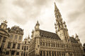 Brussels town hall famous on grand place in sepia Stock Image