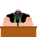 Brutal biker bar. Bearded man with spectacles. Strong grandfather Royalty Free Stock Photo