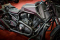 Brutal black heavy cruiser motorcycle closeup Royalty Free Stock Photography