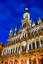 Bruxelles belgium brussels night image with grand place grote markt and maison du roi built in Stock Photography