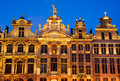 Bruxelles belgium night image with medieval architecture in grand place grote markt Stock Photo