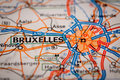 Bruxelles City on a Road Map Royalty Free Stock Photo