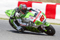 Bryan staring of honda gresini compete at the free practice of moto gp grand prix of catalunya on june in barcelona spain Stock Image