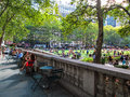 Bryant park afternoon new york august people relax on a nice day in on august in manhattan is a popular tourist destination in Stock Photos
