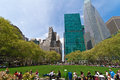 Bryant park and buildings new york city public space sorrounding Stock Photo