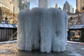 Bryant Park Fountain, Frozen - New York Royalty Free Stock Photo