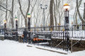 Bryant park subway snow the station during a heavy snowfall in manhattan Stock Photos