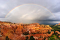 Bryce canyon rainbow sunset over Royalty Free Stock Image