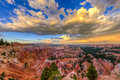 Bryce canyon view with cloudy sky and rain at the horizon united states of america Royalty Free Stock Images