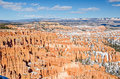 Bryce hoodoos with a bit of snow and an incredible view amphitheater from inspiration point in canyon national park Stock Image