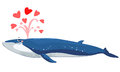 Bryde s whale spurt water with heart illustration Stock Image