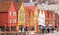 Bryggen buildings in bergen norway colourful old wooden the old hanseatic wharf vagen harbour now a unesco world heritage site and Stock Image