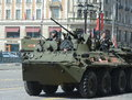 The BTR-82A is an Russian 8x8 wheeled amphibious armoured personnel carrier (APC) with Marines. Royalty Free Stock Photo