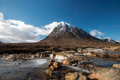 Buachaille etive mor river and in scottish highlands Royalty Free Stock Photos