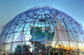 The bubble biosphere by renzo piano is located sea to side of aquarium of genoa and houses inside a tropical Royalty Free Stock Photos