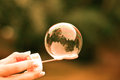 Bubble from bubble blower in girl hand blured italy forest background Royalty Free Stock Photography