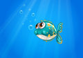 A bubble fish under the sea illustration of Stock Photography