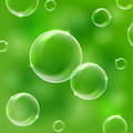 Bubble on green background soap bubbles illustration Stock Photography
