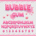 Bubble gum Latin font design. Sweet ABC letters and numbers. Cute children alphabet.