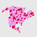 Bubble hearts map of north america this is file eps format Stock Images