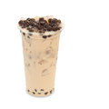 Bubble ice tea milk in takeaway glass isolated on white background with clipping path Stock Photography
