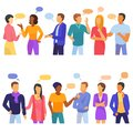 Bubble people vector bubbling speech communication and group of man woman friends discussion illustration set of person