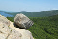 Bubble rock at acadia national park on top of the south mountain maine usa Royalty Free Stock Photo