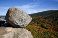 Bubble rock glacial erratic boulder precariously perched atop mountain acadia national park maine usa Stock Photo