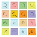 Bubble speech, arrow icons sticky note paper Royalty Free Stock Photo
