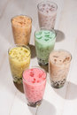 Bubble tea. Homemade Various Milk Tea with Pearls on wooden tabl Royalty Free Stock Photo