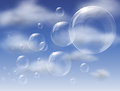 Bubbles floating up in sky Royalty Free Stock Photo